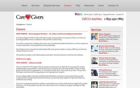 Screenshot of Jobs Page caregiversnl.com - Caregivers  » Careers - captured Oct. 1, 2014