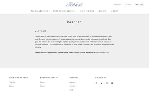 Screenshot of Jobs Page fekkai.com - Careers – Fekkai - captured Sept. 23, 2019