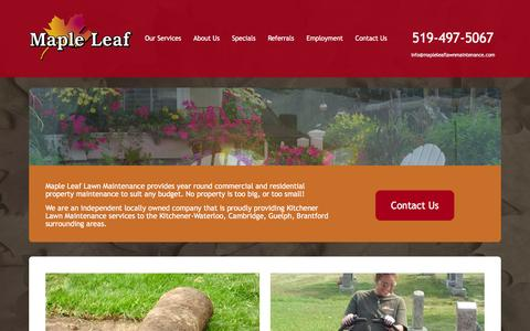 Screenshot of Home Page mapleleaflawnmaintenance.com - Maple Leaf Lawn Maintenance - Kitchener Lawn Maintenance - captured Dec. 5, 2015