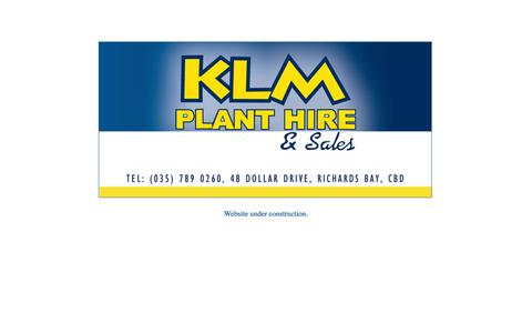 Screenshot of Home Page klmplanthire.co.za - KLM Plant Hire - Plant hire and sales in Richards Bay, Natal, South Africa - captured Oct. 3, 2014