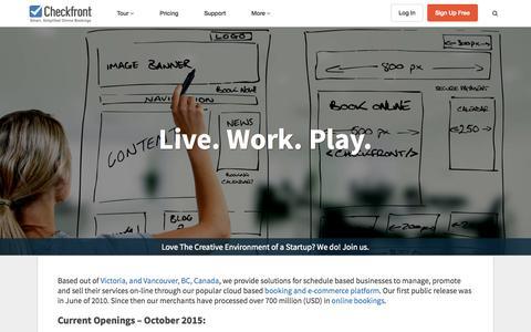 Screenshot of Jobs Page checkfront.com - Careers at Checkfront - captured Oct. 15, 2015