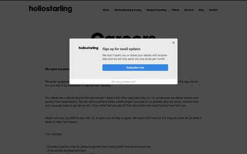 Screenshot of Jobs Page hellostarling.com - Careers | Hello Starling - captured July 18, 2018