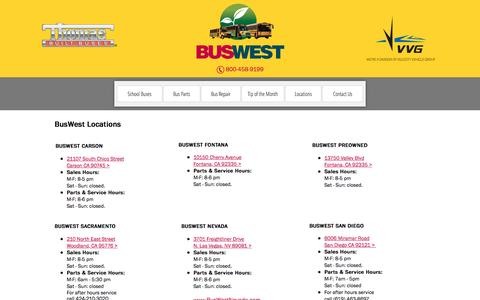Screenshot of Locations Page buswest.com - BusWest Locations in California, Nevada, Arizona, Hawaii & more. - captured July 31, 2016