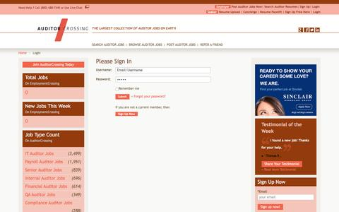 Screenshot of Login Page auditorcrossing.com - Access Auditing Jobs, Auditing Job Database, Sign In, Username, Password | AuditorCrossing.com - captured May 31, 2017