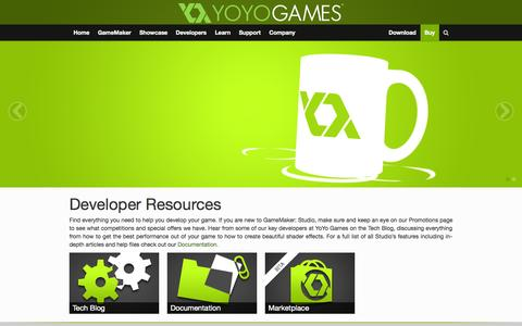 Screenshot of Developers Page yoyogames.com - Developers | YoYo Games - captured Oct. 29, 2014