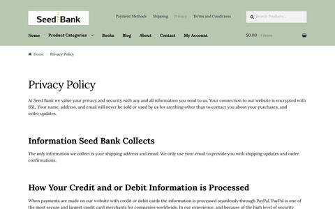 Screenshot of Privacy Page seed-bank.ca - Privacy Policy - Seed Bank - captured June 11, 2017