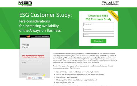 Screenshot of Landing Page veeam.com - ESG Customer Study: Five considerations  for increasing availability  of the Always-on Business - captured March 22, 2016