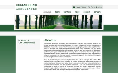 Screenshot of About Page greenspringassociates.com - About Us | Greenspring Associates, Venture Capital Investment Platform - captured Sept. 30, 2014