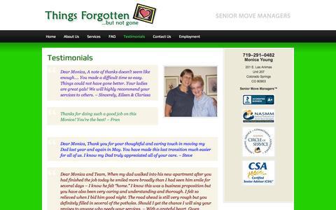Screenshot of Testimonials Page thingsforgottenllc.com - Testimonials - captured Sept. 30, 2014