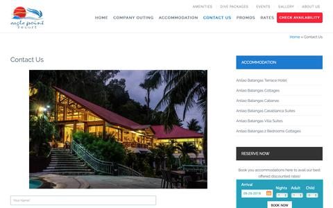 Screenshot of Contact Page eaglepointresort.com.ph - Contact Us | Eagle Point Batangas Beach Resort | Anilao Diving | Company Outing - captured Sept. 26, 2018