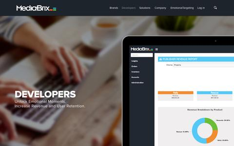 Screenshot of Developers Page mediabrix.com - Developers - The Best Ads for the Best Apps - captured Nov. 13, 2015
