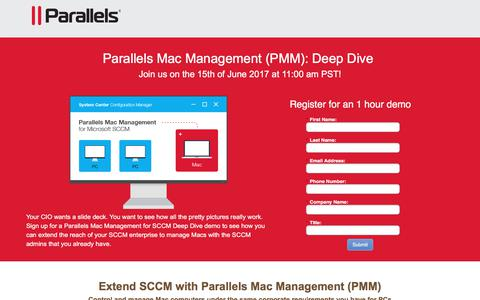 Screenshot of Landing Page parallels.com - Parallels Mac Management (PMM) - captured June 9, 2017