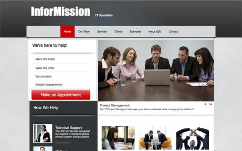 Screenshot of Home Page informission.com - IT Consultants - captured Oct. 15, 2017