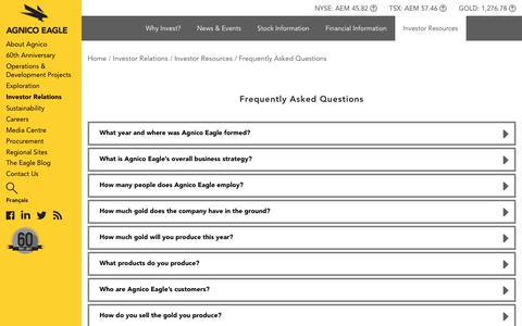 Screenshot of FAQ Page agnicoeagle.com - Agnico Eagle Mines Limited - Investor Relations - Investor Resources - Frequently Asked Questions - captured Oct. 7, 2017