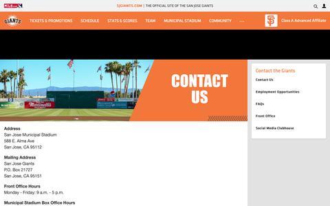 Screenshot of Contact Page milb.com - Contact the San Jose Giants | Giants - captured Nov. 29, 2018
