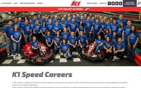 Screenshot of Jobs Page k1speed.com - K1 Speed | Careers - captured Sept. 28, 2018
