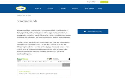 Screenshot of Case Studies Page metapack.com - brands4friends - MetaPack Official | eCommerce Delivery Management Software - captured April 29, 2019