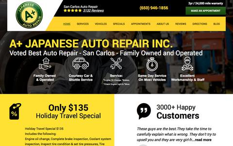 Screenshot of Home Page aplusjapaneseautorepair.com - San Carlos Auto Repair - A+ Japanese Auto Repair, Inc. - captured Feb. 6, 2020