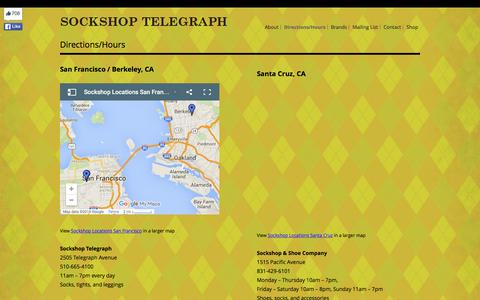 Screenshot of Hours Page sockshopontelegraph.com - Directions/Hours | Sockshop Telegraph - captured March 16, 2016