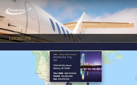 Screenshot of Locations Page privatejetsinc.com - Private Jet Airports Serving Texas, Florida & Oklahoma | Private Jets Inc. - captured July 22, 2018