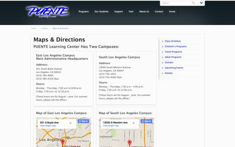 Screenshot of Maps & Directions Page puente.org - Maps and Directions to PUENTE Learning Center - captured Jan. 24, 2016