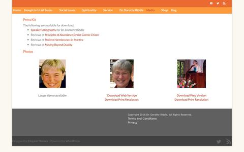 Screenshot of Press Page enoughforusall.com - Media - Interviews and stories about Dr. Dorothy Riddle - captured Oct. 25, 2017