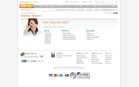 Screenshot of Support Page eio.com - Eio.com - Electronics, Computer Parts, Electronic Components, Security & Surveillance, LED LCD and more. - captured Sept. 22, 2014