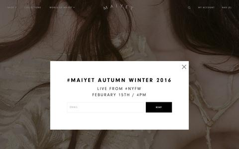 Screenshot of Home Page maiyet.com - Maiyet - captured Feb. 13, 2016