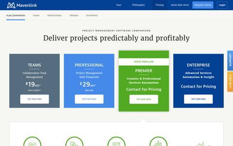 Screenshot of Pricing Page mavenlink.com - Cloud-Based Project Management Software Plans and Pricing - Mavenlink - captured Dec. 29, 2015