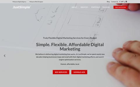 Screenshot of Home Page justsimple.com - Homepage - JustSimple Digital Agency Malaysia - captured Feb. 15, 2019