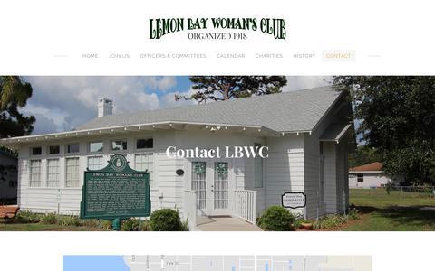 Screenshot of Contact Page lemonbaywomansclub.com - Contact - Lemon Bay Woman's Club - captured April 26, 2018