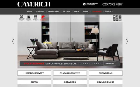 Screenshot of Home Page camerich.co.uk - Welcome to Camerich London - Modern Designer Furniture and Sofas - captured July 11, 2016