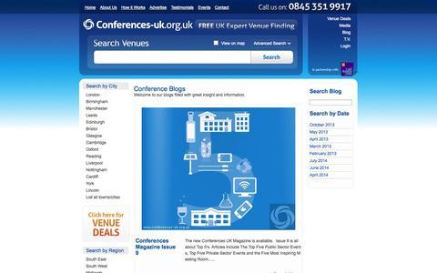 Screenshot of Blog conferences-uk.org.uk - Conference Blogs  | Conference Venues UK - captured Sept. 22, 2014