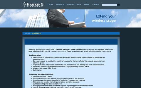 Screenshot of Jobs Page hawkingtech.com - Hawking Technology: High Performance Wireless Technology - captured Sept. 23, 2014