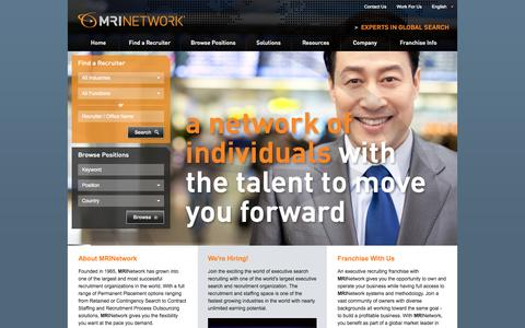 Screenshot of Home Page mrinetwork.com - International Recruiters. Experts in Global Search | MRINetwork - captured Sept. 19, 2014