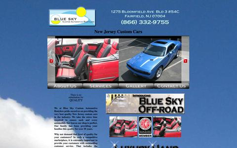 Screenshot of Home Page blueskycar.net - New Jersey Custom Cars Services | NJ Custom Upholstery & Sunroofs - captured Oct. 5, 2014