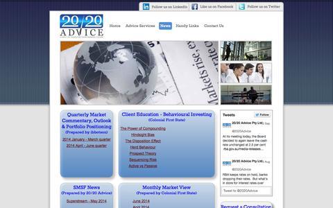 Screenshot of Press Page 2020advice.com.au - News - 20/20 Advice Pty Ltd - captured Oct. 9, 2014