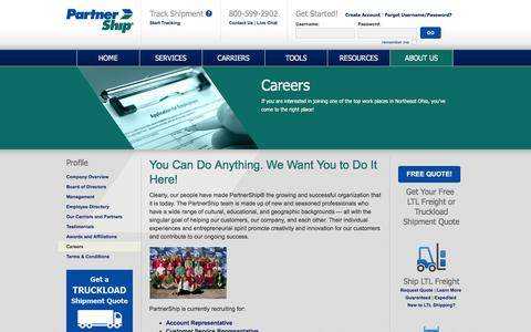 Screenshot of Jobs Page partnership.com - Careers | PartnerShip - captured Jan. 22, 2016