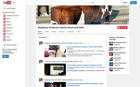 Screenshot of YouTube Page youtube.com - Gorgeous Creatures Interior Decor and Gifts  - YouTube - captured Oct. 23, 2014