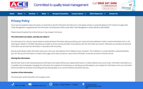 Screenshot of Privacy Page acetravel.co.uk - Privacy Policy | ACE Travel Management - captured Oct. 2, 2018