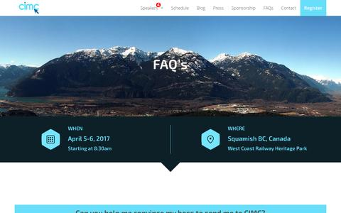 Screenshot of FAQ Page cimc.marketing - FAQs | Canadian Internet Marketing Conference | Squamish BC Canada - captured Jan. 11, 2017