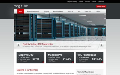 Screenshot of Home Page mdg-it.com.au - M.D.G. IT :: Specialised Australian Magento Webhosting - captured Sept. 19, 2014