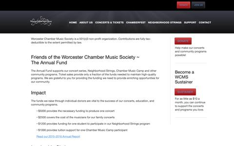 Screenshot of Support Page worcesterchambermusic.org - Support Us - captured Oct. 18, 2018