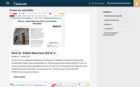Screenshot of Blog groupebabylone.fr - Babylone - Offres de bureaux, commerces, entrepôts ou locaux d'activités - captured July 25, 2018