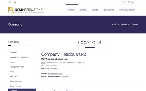 Screenshot of Locations Page komintl.com - KOM International - Supply Chain, Warehouse Management Consulting - captured Oct. 17, 2017