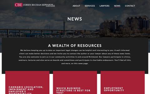 Screenshot of Press Page cbelaw.com - News - Cohen Buchan Edwards LLP - captured Sept. 28, 2018