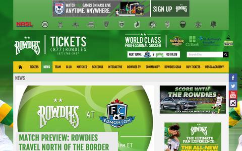 Screenshot of Press Page rowdiessoccer.com - Rowdies News | rowdiessoccer.com - captured Sept. 23, 2014