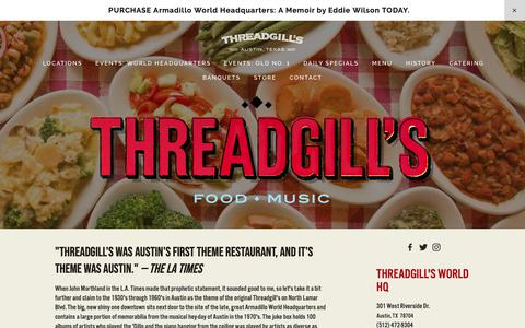 Screenshot of Home Page threadgills.com - Threadgill's - captured Oct. 21, 2018