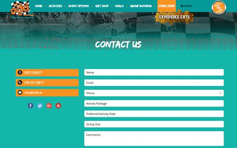 Screenshot of Contact Page odd.ie - Paintballing Cavan – Experience Gifts, Buggy Racing, Stag Activities  Contact Us - Paintballing Cavan - Experience Gifts, Buggy Racing, Stag Activities - captured Dec. 20, 2018