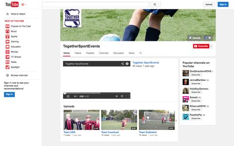 Screenshot of YouTube Page youtube.com - TogetherSportEvents  - YouTube - captured Oct. 26, 2014